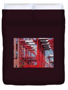Detail View Of A Row Container Loading Cranes Duvet Cover