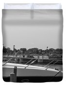 Detroit Lighthouse And Boat Black And White  Duvet Cover