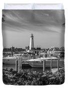 Detroit Lighthouse And Marina 3 Black And White  Duvet Cover