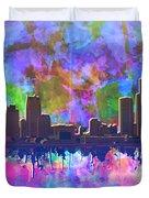 Detroit Skyline Watercolor 1 Duvet Cover