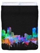 Detroit Skyline Watercolor 3 Duvet Cover