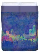 Detroit Skyline Watercolor Blue 3 Duvet Cover