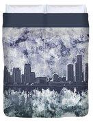 Detroit Skyline Watercolor Grunge Duvet Cover