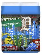 Detroit The Motor City Michigan License Plate Art Collage Duvet Cover