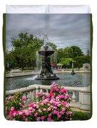 Detroit Zoo Fountain Duvet Cover