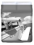 Deuce Coupe At The Drive-in Black And White Duvet Cover