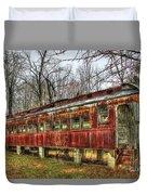 Devastation Railroad Passenger Train Car Fire Art Duvet Cover