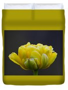 Dew Covered Yellow Tulip Duvet Cover