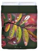 Dew On Wild Rose Leaves In Fall Duvet Cover