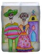 Dia De Los Muertos Mexican Couple Diego And Frida Duvet Cover