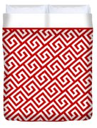 Diagonal Greek Key With Border In Red Duvet Cover
