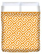 Diagonal Greek Key With Border In Tangerine Duvet Cover