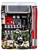 Dials And Hoses On Fire Truck Duvet Cover