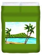 Diamond Head And Waikiki Beach #351 Duvet Cover