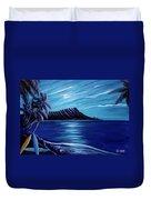 Diamond Head Moon Waikiki Beach #288 Duvet Cover