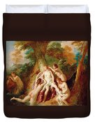 Diana And Her Nymphs Bathing Duvet Cover