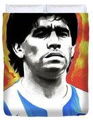 Diego Maradona By Nixo Duvet Cover