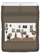digital exhibition  Statue 23 of posing lady  Duvet Cover
