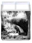 Digital Paint Black White Landscape Louisiana  Duvet Cover