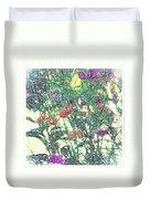 Digital Pencil Sketch Flowers Duvet Cover