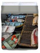 Dinghies At Town Wharf Duvet Cover