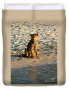 Dingo On The Beach Duvet Cover