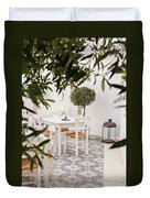 Dining In The Courtyard Duvet Cover