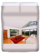 Dining Room With Slanted Ceiling Duvet Cover