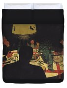 Dinner By Lamplight Duvet Cover by Felix Edouard Vallotton
