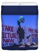 Dinosaur Sign Take Pictures Now Duvet Cover