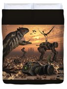 Dinosaurs And Robots Fight A War Duvet Cover