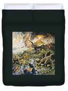 Dinosaurs And Volcanoes Duvet Cover