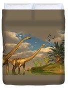 Diplodocus Dinosaur Romance Duvet Cover