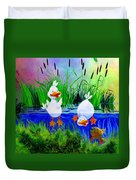 Dipping Duckies - Furry Forest Friends Mural Duvet Cover