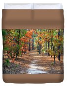 Autumn Scene Dirt Road Duvet Cover