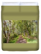 Dirt Path In A Birch Grove  Duvet Cover