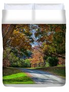 Dirt Road Through Vermont Fall Foliage Duvet Cover