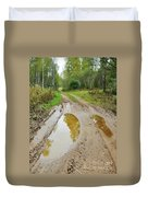 Dirty Autumn Road With Brown Pools After Rain Duvet Cover
