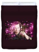 Disconnected Male Dj Holding Unplugged Audio Jack Duvet Cover