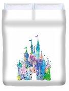 Disney Castle 2 Watercolor Print Duvet Cover