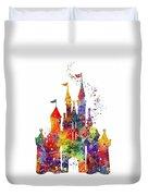 Disney Castle 6 Watercolor Print Duvet Cover