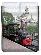 Disneyland Railroad Engine 3 With Castle Duvet Cover