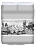 Disneyland Small World Panorama Pa Bw Duvet Cover