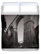 Distant Mountain And Long Bridge Duvet Cover