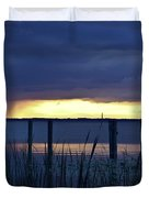 Distant Storms At Sunset Duvet Cover
