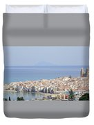 Distant View Of Cefalu Sicily Duvet Cover