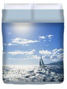 Distant View Of Sailboat Duvet Cover