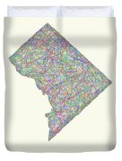 District Of Columbia Line Art Map Duvet Cover