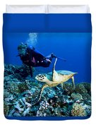Diver And Green Sea Turtle Chelonia Duvet Cover