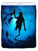 Diver And Reef Fish Duvet Cover
